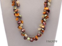 14mm white round pearl and colorful irregular crystal and yellow irregular pearl necklace