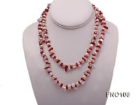 7-8mm yellow freshwater pearl and white and red crystal necklace