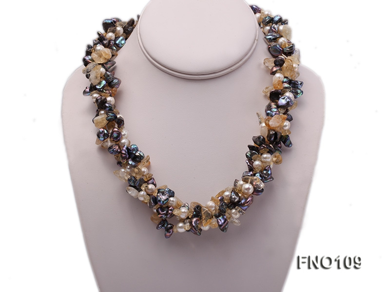 7-11mm white oval pearl and yellow irregular crystal and green peacock irregular pearl necklace