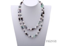 8-9mm white and green peacock oval freshwater pearl and alternated fluorite and smoky crystal neckla