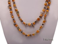 8-9mm yellow irregular crystal and yellow flat freshwater pearl necklae