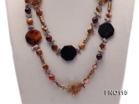 12-20mm yellow coin pearl and biwa pearl and irregular pearl and agate necklace