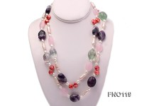 15-20mm white irregular freshwater pearl alternated rose quartz and fluorite necklae