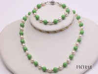 White Freshwater Pearl & Green Turquoise Beads Necklace and Bracelet Set