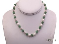 White Freshwater Pearl & Aventurine Beads Necklace and Bracelet Set