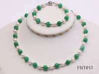 White Freshwater Pearl & Green Round Jade Beads Necklace and Bracelet Set