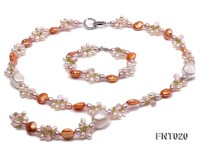 Freshwater Pearl and Crystal Beads Necklace and Bracelet Set