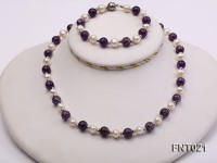 White Freshwater Pearl & Amethyst Beads Necklace and Bracelet Set