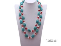 22mm blue round turquoise and red coral sticks necklace with gilded clasp