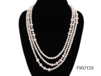 5-6mm natural white round freshwater pearl with big pearls necklace