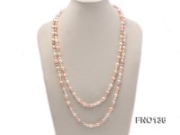 5×6-7x9mm pink white and purple oval freshwater pearl necklace