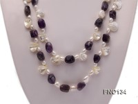 9x13mm purple irregular amethyst and white irregular mabe pearl and white pearl necklace