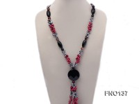 6x8mm red and grey flat freshwater pearls alternated turquoise and agate necklace