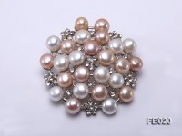 Gold Plated Brooch with Freshwater Pearls and Shining Rhinestone Beads