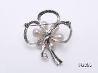 Gold Plated Brooch with White Rice-shaped Freshwater Pearls