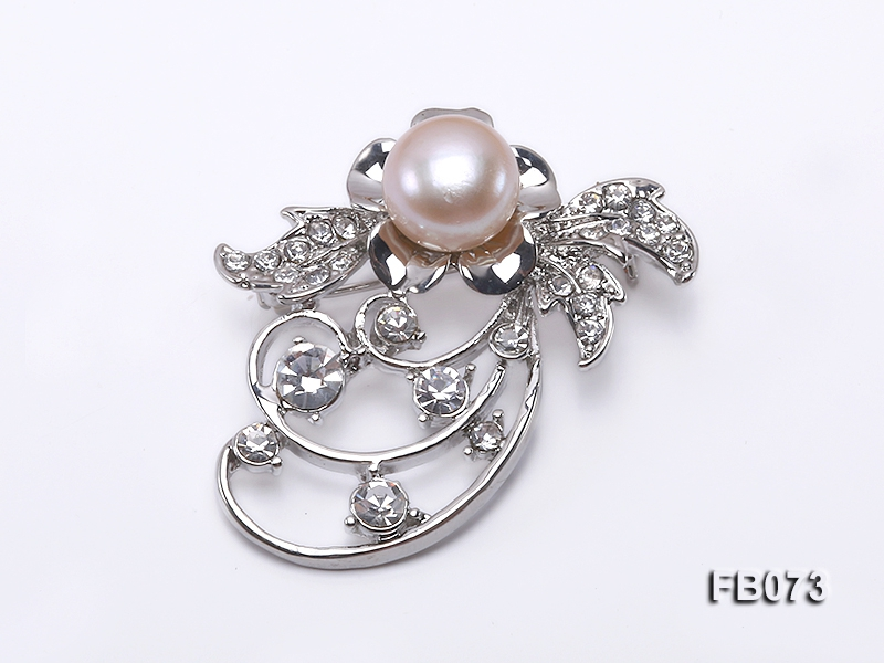 Gold Plated Brooch with Freshwater Pearl and Rhinestone Beads