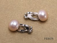 9.5mm Pink Flat Cultured Freshwater Pearl Clip-on Earrings