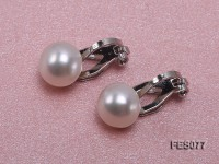 8.5mm White Flat Cultured Freshwater Pearl Clip-on Earrings