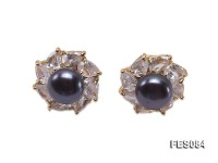 9.5mm Black Flat Cultured Freshwater Pearl Earrings