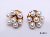 6x7mm White Rice-shaped Cultured Freshwater Pearl Earrings
