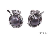 11-12mm Black Baroque Freshwater Pearl Earrings