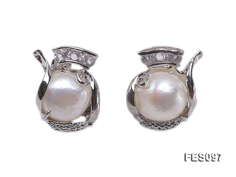 11-12mm White Baroque Freshwater Pearl Earrings