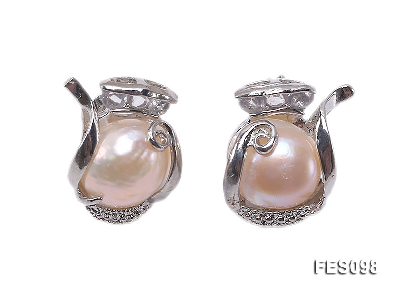 11-12mm Pink Baroque Freshwater Pearl Earrings