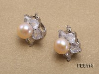 Flower-shaped Pink Freshwater Pearl Earrings