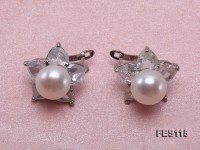 Flower-shaped white Freshwater Pearl Earrings