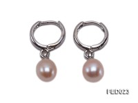 7x9mm Pink Drop-shaped Freshwater Pearl Earrings