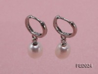 7x9mm White Oval Freshwater Pearl Earrings