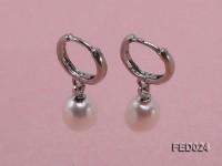 7x9mm White Oval Freshwater Pearl Earrings