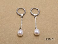 7x9mm White Drop-shaped Freshwater Pearl Earrings