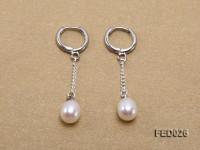 7x9mm White Drop-shaped Freshwater Pearl Earrings