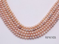 Wholesale 7-7.5mm Natural Pink Round Freshwater Pearl String