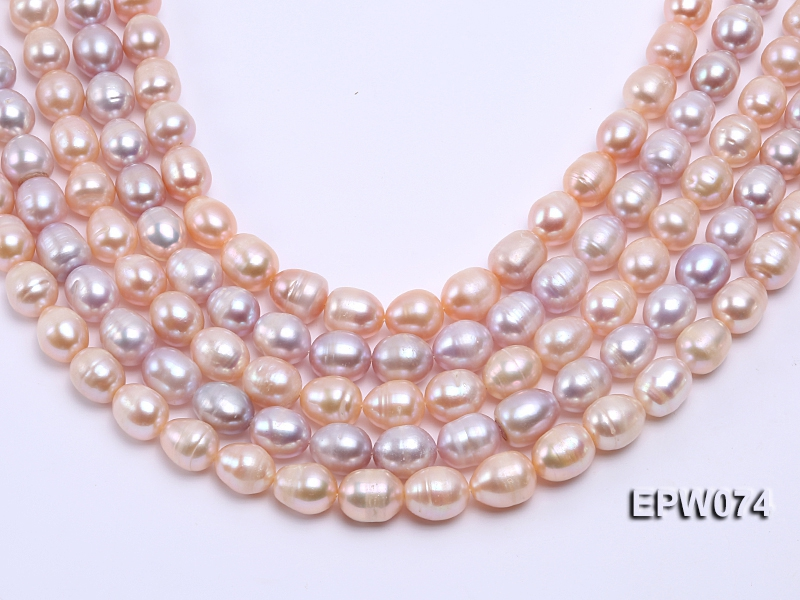 Wholesale Super-size 12x14mm Pink Rice-shaped Freshwater Pearl String