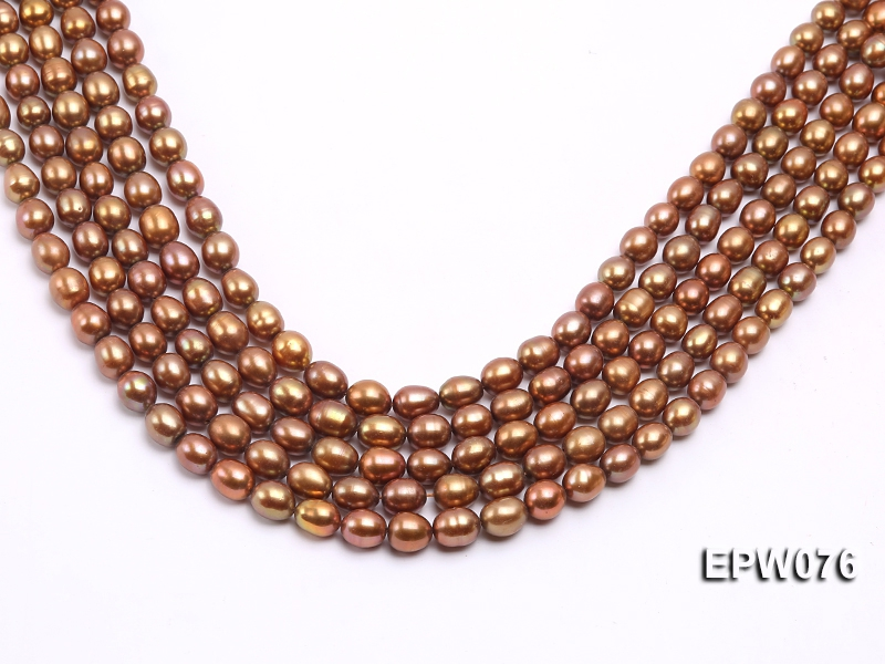 Wholesale 8X9mm Champagne Rice-shaped Freshwater Pearl String