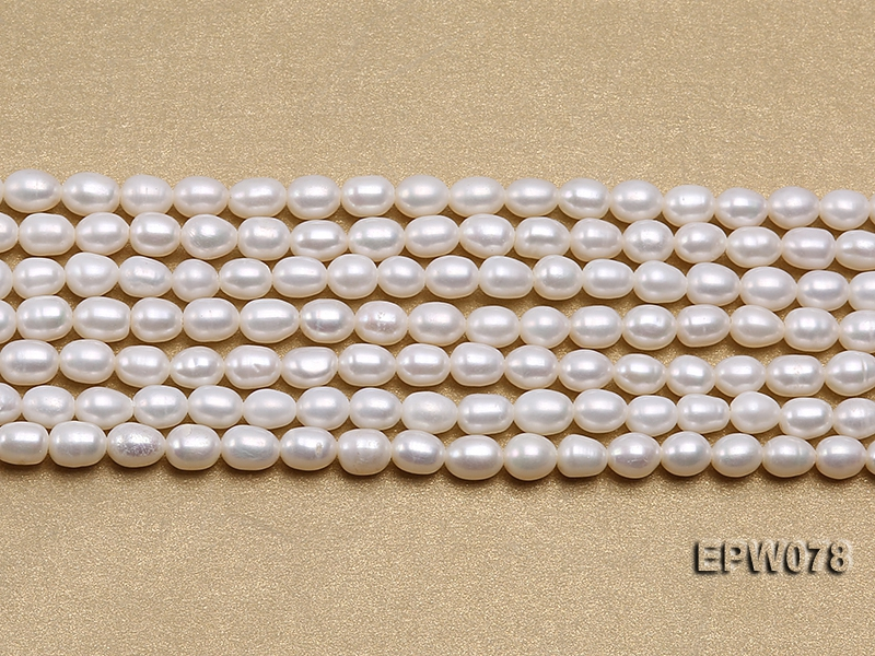 Wholesale 4.5×5.5mm Classic White Rice-shaped Freshwater Pearl String