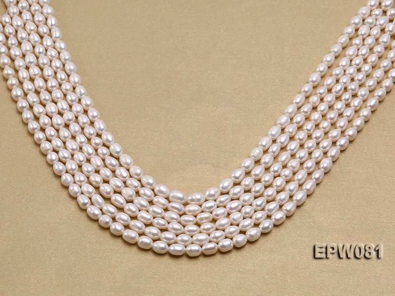 Wholesale High-quality 6×8.5mm Rice-shaped Freshwater Pearl String