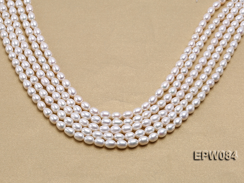Wholesale 6.5x8mm Classic White Rice-shaped Freshwater Pearl String
