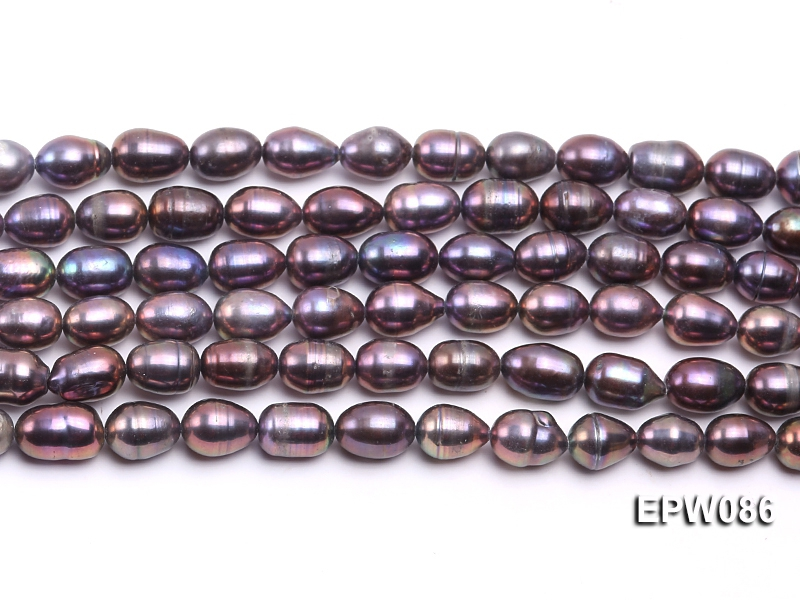 Wholesale 7.5X10.5mm Black Rice-shaped Freshwater Pearl String