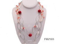 5x6mm white freshwater pearl  and coral necklace
