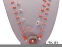5x10mm pink irregular coral and white freshwater pearl necklace