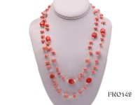 6*9mm pink coral with white carved crystal necklace