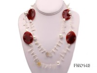 12mm white seashell pearl with white shell and pink agate necklace