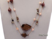 7x10mm freshwater pearl and tiger eye chain necklace