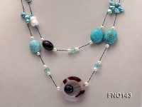 7-9mm white and blue oval freshwater pearl and blue turquoise necklace