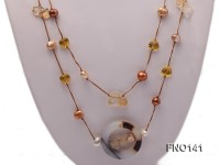 8-10mm multicolor flat pearl and yellow heart-shaped crystal and agate necklace