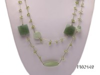 7-10mm green irregular crystal and jade necklace