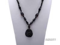 10mm black agate necklace with a big faceted pendant